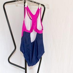 Speedo Swim - Speedo Blue/Pink Hearts One Piece Swimsuit Size 14